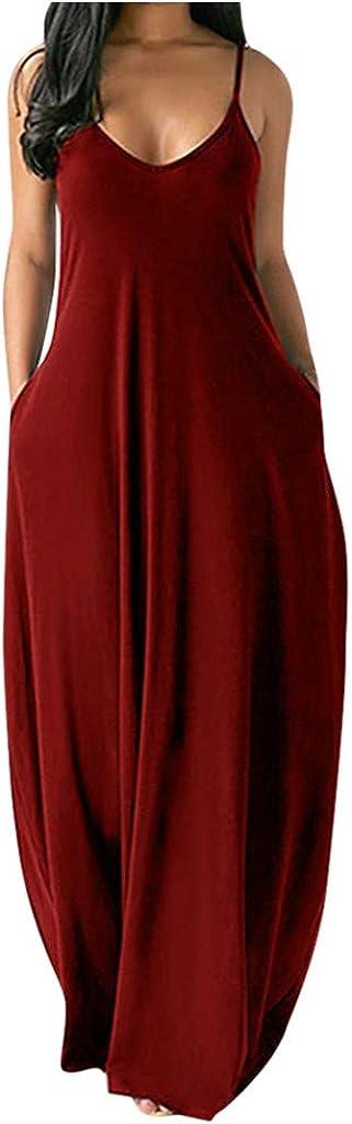 Shakumy Women Spaghetti Strap Boho V Neck Backless Long Maxi Dress Casual Summer Sleeveless Loose Beach Sundress Dress