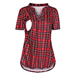 Camiseta de premamá para verano, algodón, para lactancia, camiseta, manga corta, jersey, primavera, maternidad, mujer, suéter rojo M