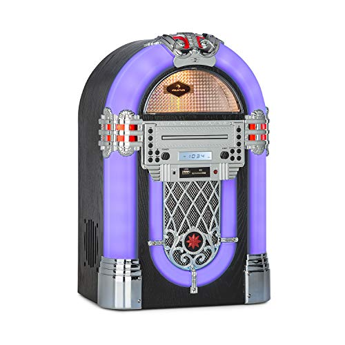 auna Kentucky Home Audio Jukebox - Bluetooth, UKW-Radiotuner, USB-Port und SD-Slot, MP3-Wiedergabe, CD-Player, SRC LED Lighting System, AUX-In, Designgehäuse mit Eichenholz-Optik, kompakt, schwarz