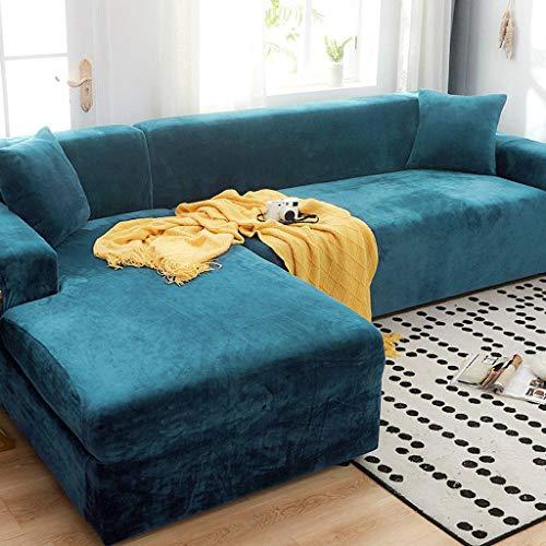 SHAFAJNC Elastische Samt L-Form Sofa Abdeckung Sofahusse Sofabezug Sofaüberwürfe,rutschfest 1 2 3 4 Seater Stretch Sofa Überwürfe Für Ecksofa Volle Deckung Sofaschoner -4 Sitzer 235-300cm-See Blau