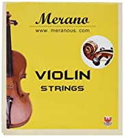 Merano 4/4-3/4 Size Violin String Set (G-D-A-E) + Extra E String ~ Beginner Student Replacement [並行輸入品]