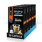 King Cup - 5 Confezioni da 10 Capsule Compostabili di Ginseng da Zuccherare, 50 Capsule 100% Compatibili con Sistema Nespresso di Bevanda al Gusto di Ginseng, Senza Glutine e Senza Lattosio