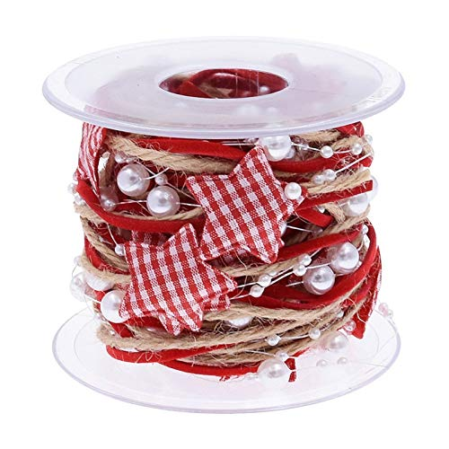 16.4ft Ribbon for Christmas Tree Gifts Wrapping Embellishments, Red Plaid Christmas Ribbon, Christmas Tree Pearl Ribbons Garland Decoration Craft (1)