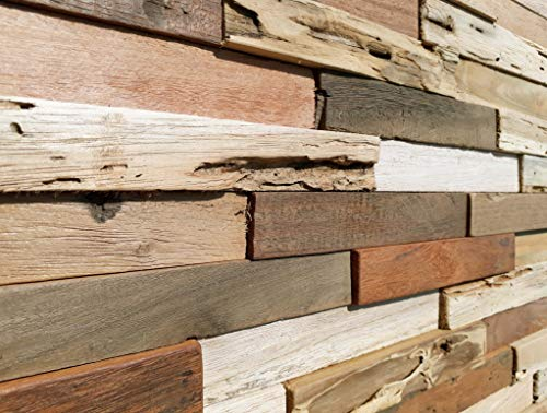WoodyWalls 3D Reclaimed Barn Wood Wall Panels   DIY Glue and Nails Installation   Premium Set of 10 Panels (9.5 sq. ft. per Box) Original Rustic