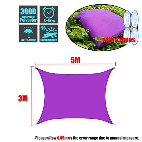 HS-Zak Miller Sun Sonnensegel Sonnenschutz Rechteck Markise Canopy 90% UV-Block Wasserdicht Für Außen Garten Innenhof Partei Mit Free Rope Lila,3 * 5m