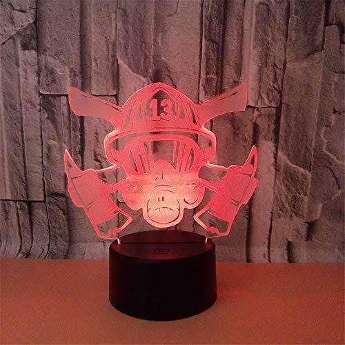 Lampe de nuit optique led lampe 3d, 7 couleurs, lampe de commutateur tactile télécommande, pile usb/aa, masque de feu chambre bureau