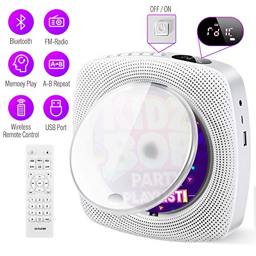 Portable CD Player with Bluetooth Built-in HiFi Speakers, Wall Mountable...