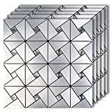 HomeyMosaic Peel and Stick Tile Backsplash Stick on Kitchen Wall Decor Aluminum Surface Metal Mosaic...