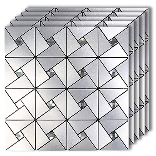 "HomeyMosaic Peel and Stick Tile Backsplash Stick on Kitchen Wall Decor Aluminum Surface Metal Mosaic Smart Tiles Wall Sticker,Silver Windmill Puzzle Glass Mixed(11.8""x11.8""x 5 Sheets)"