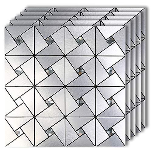 HOMEYMOSAIC 껍질 및 스틱 타일 BACKSPLASH 스틱 부엌 벽 장식 알루미늄 표면 금속 모자이크 스마트 타일 벽 스티커 실버 풍차 퍼즐 유리 혼합 (11.8X11.8X 5 매)
