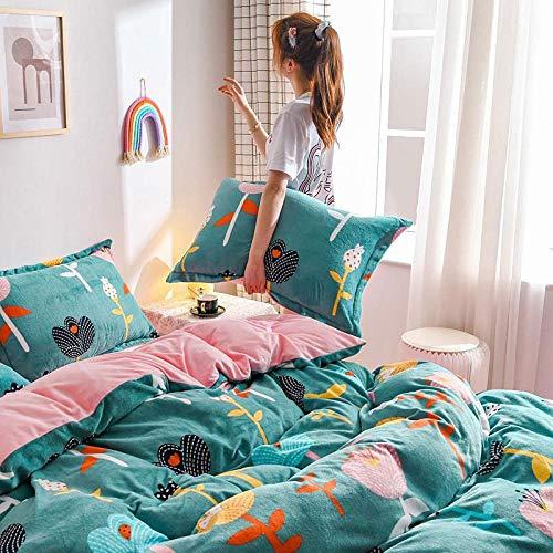juego de funda de edredón de 3 piezas-Ropa de cama de cuatro piezas de terciopelo de leche gruesa de invierno para mantener la cama individual caliente funda nórdica individual funda de almohada rega