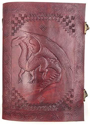 Kooly Zen - Taccuino con blocco note, diario, libro, vera pelle, vintage, drago medievale, chiusura in metallo vintage, 18 x 25 cm, 240 pagine, carta premium