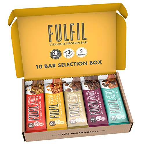 FULFIL Vitamin and Protein Bar (10 x 55g Bars) — 10 Bar Selection Box — 20g High Protein, 9 Vitamins, Low Sugar