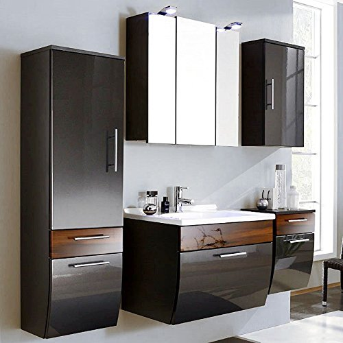 Juego de muebles de baño (5piezas  brillante antracita & nogal  cuarto de baño Juego completo: armario con espejo, lavabo con armario,–Armario alto, armario, armario