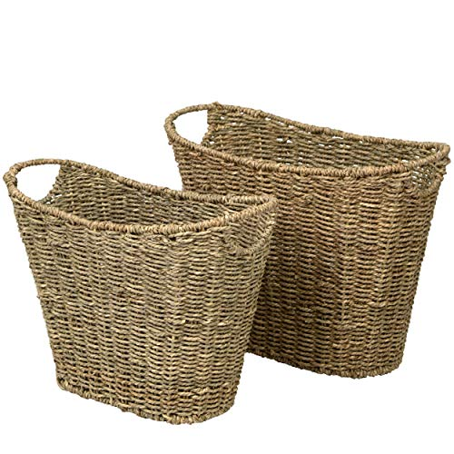 Elegante cesta de mimbre para revistas, organizador de almacenamiento de periódicos, rústico cestas de alambre de paja tejida con asas para sala de estar, baño, cocina, hogar y oficina (conjunto de 2)