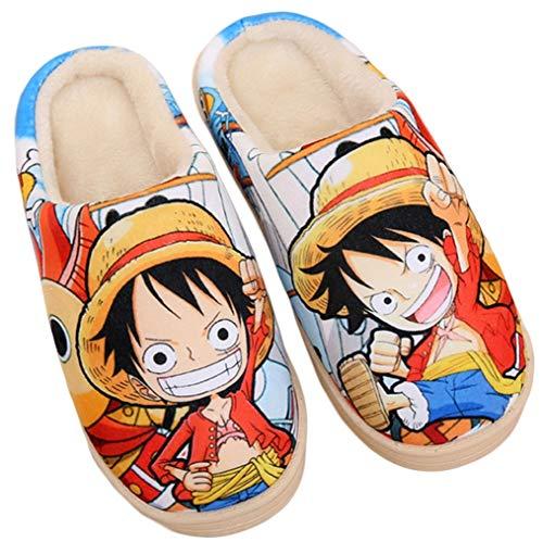 Cosstars One Piece Anime Suave Antideslizante Zapatillas de casa lindos felpa cálidos Zapatos de interior