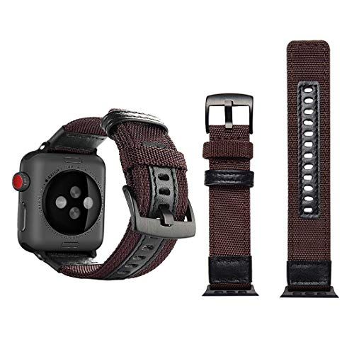 Correa de Reloj de Nylon Estilo Jeep con Hebilla de Acero Inoxidable for Apple Watch Series 3 y 2 y 1 38 mm Reloj (Color : Brown)
