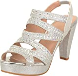 Cambridge Select Women's Open Toe Cutout Caged Crystal Rhinestone Slingback Chunky Platform High Heel Sandal, 6.5 B(M) US, Silver Glitter