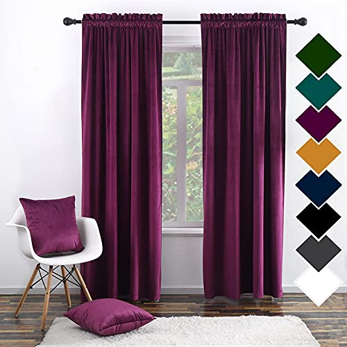 """Twin Six Super Soft Blackout Velvet Curtains with 2 Pillow Case,Thermal Insulated Solid Heavy Rod Pocket Window Drapes for Living Room (Plum, 52""""x96"""",2 Panels)"""