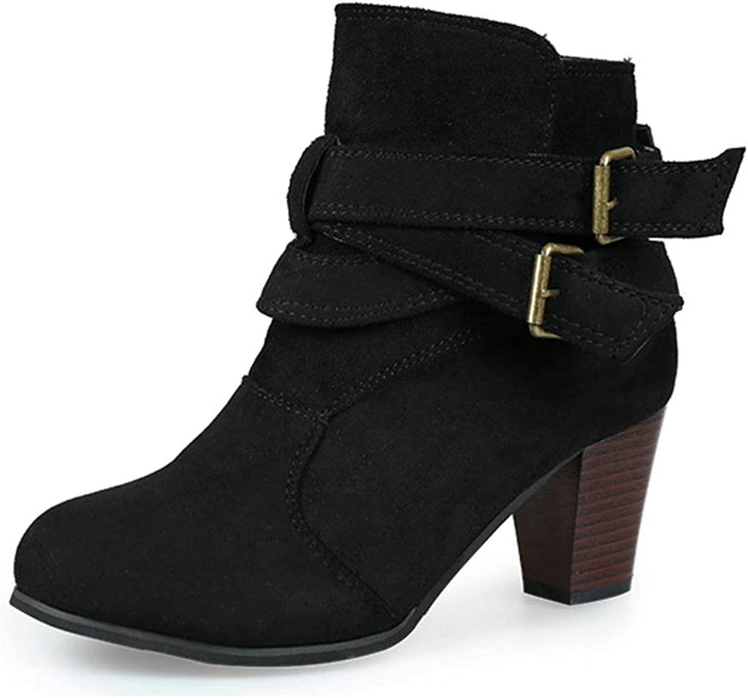 CYBLING Women's Ankle Booties Buckle Strap Chunky Stacked Heel Side Zipper Round Toe Winter Boots