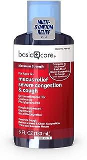 Basic Care Mucus Relief Severe Congestion & Cough Maximum Strength Liquid, 6 fl. oz.