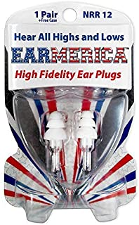 EARMERICA High Fidelity Ear Plugs are The Ultimate in Comfort - First Choice Musicians Ear Plugs - Must Have Concert Ear Plugs - Fantastic Motorcycle Ear Plugs (1 Pair)