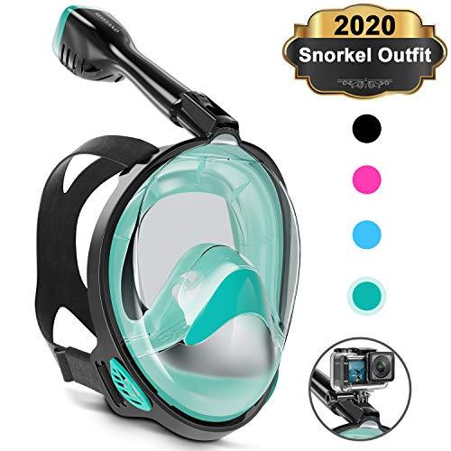 Keystand Full Face Snorkel Mask, Upgraded Breathing Mechanism Snorkeling Masks, Flat Crystal Lens, 180 Panoramic Anti-Leak/Fog Kids Adults Diving Snorkle Mask Gear with Detachable Camera Mount