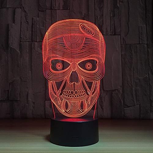 QTYUE 3D nachtlampje. Dimbare RGB-kleurwisselmodi voor kinderen, baby, slaapkamer, kantoor en camping, met acryl-flat & ABS-basis & USB-kabel, Halloween skelet