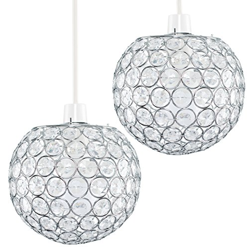 Pair of - Modern Chrome Globe Ceiling Light Shades with Acrylic Crystal Effect Jewels