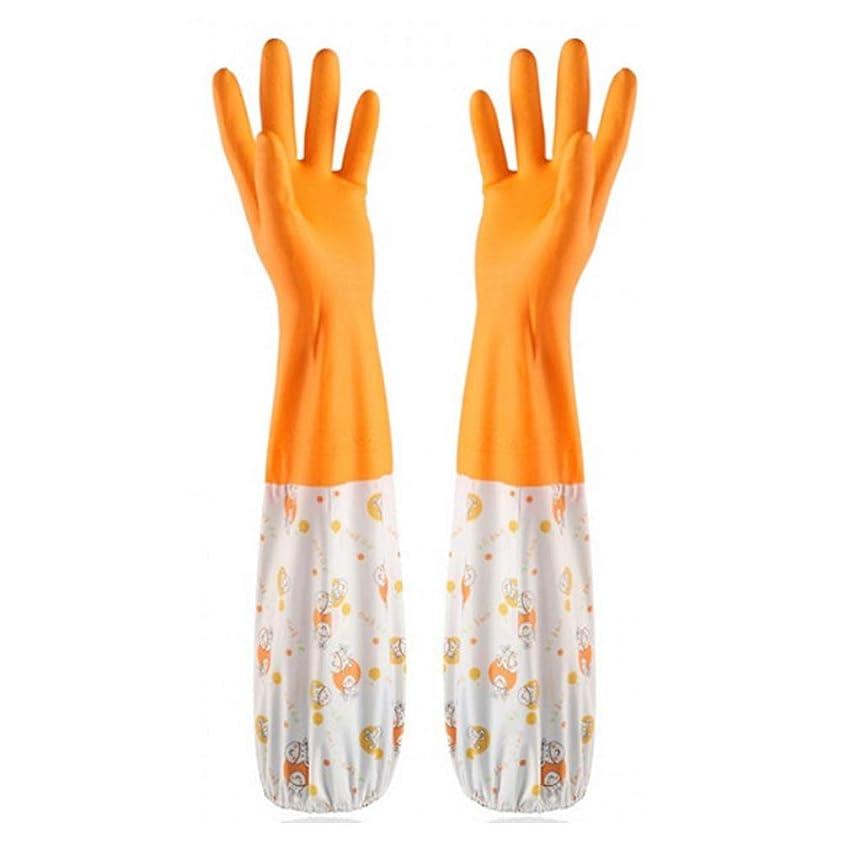 購入思いつく馬力ゴム手袋 ビニール 中厚手 キッチングローブ 炊事?掃除用 裏起毛 雪遊び 2サイズM/L (オレンジ, L)