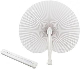 Abanicos blancos plegables de plástico y papel, para fiestas y eventos (50 unidades)