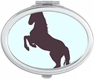 DIYthinker Black Silhouette Legs Erect Unicorns Oval Compact Makeup Mirror Portable Cute Hand Pocket Mirrors Multicolor