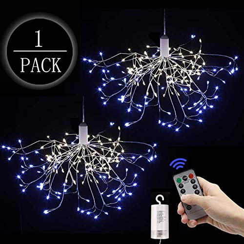 Digcreat Firework Lights Wire Lights,150 LED DIY 8 Modes Dimmable String Fairy Lights with Remote Control,Waterproof Decorative Hanging Starburst Lights for Christmas Home, Warmwhite+Blue(1 Pack)