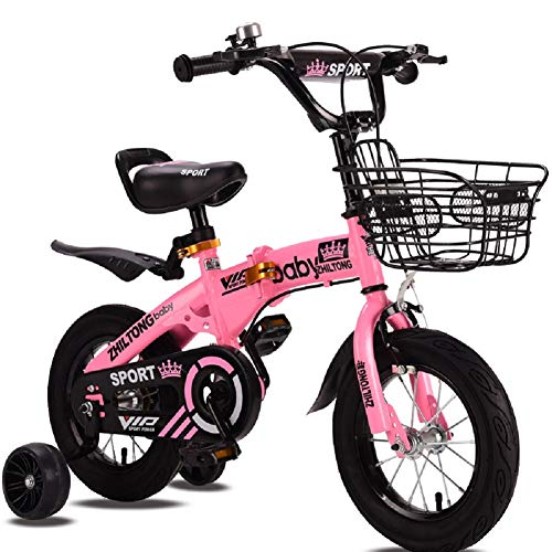 "Folding Bike Foldable Boy's Girl's Kids Children Child Bike Bicycle 3 Colours, 12"", 14"", 16"", 18"" with Backseat, Flash Auxiliary Wheels and Basket (Pink, 18inch)"
