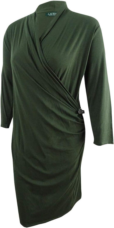 Ralph Lauren Womens Ruched ALine Dress Green 2Xl