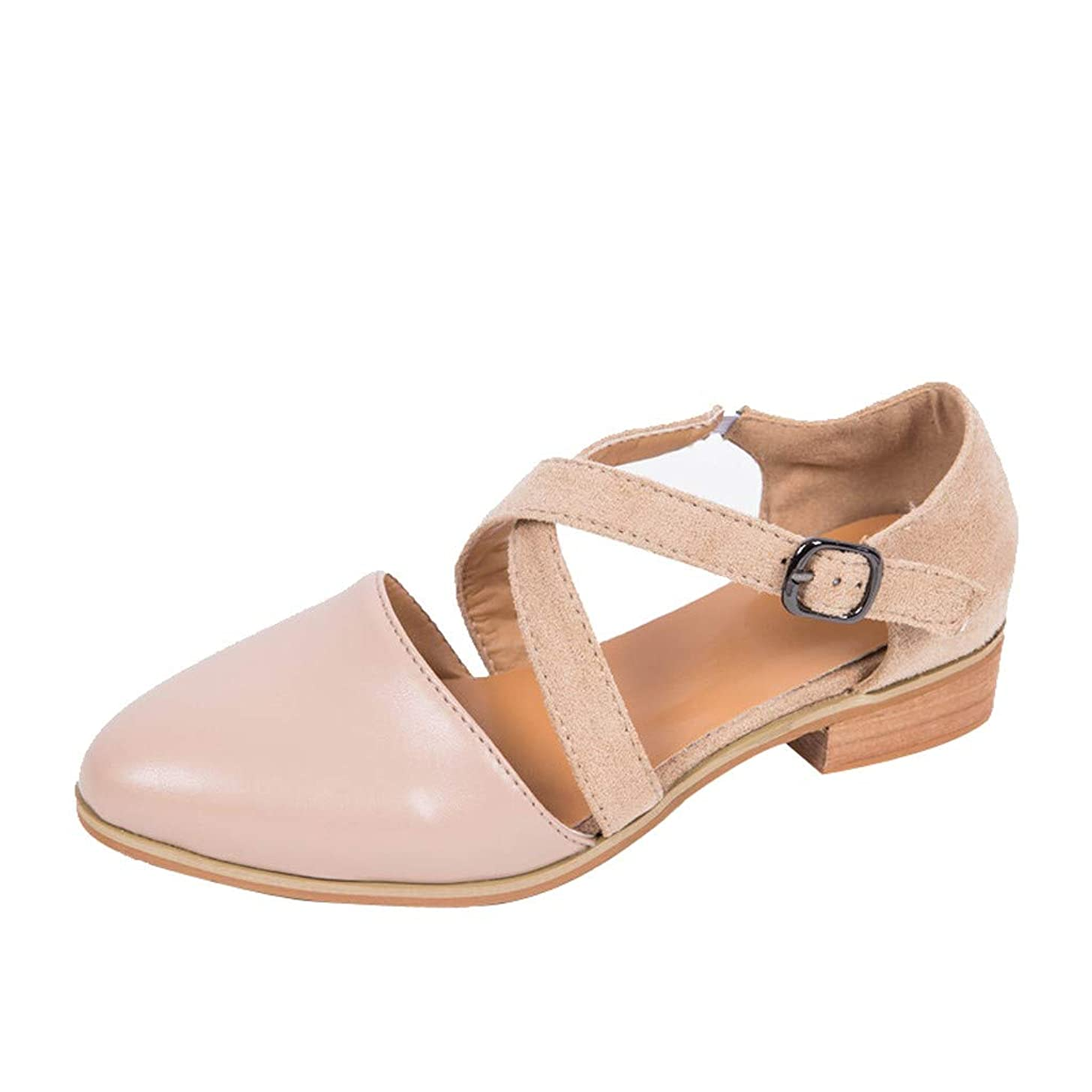 Women's Sweet Solid Pointed Toe Wild Shoes Across Strap Casual Ankle Single Buckle Roma Sandals JHKUNO