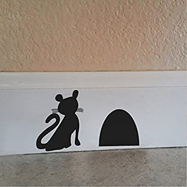 BATTOO A Cat Waiting for Mouse beside Mouse Hole Wall Decal Cute Wall Art Sticker(9 X 5.5 ,black)