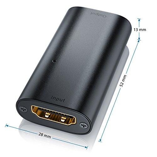 CSL - 4K HDMI 2.0b Extender Verstärker - HDMI Repeater Signalverstärker - UHD 2160p 60Hz - HDMI-Buchse zu HDMI-Buchse - Aluminium - bis zu max 20m Entfernung
