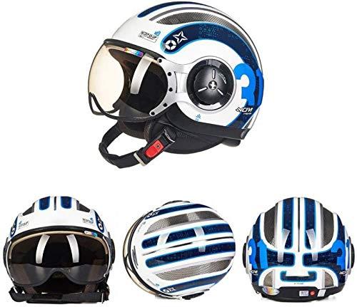 EBAYIN Cascos Half-Helmet Cascos Abiertos Casco 3/4 Casco De Ciclomotor Harley Retro ECE Cruiser Informe De Batalla Scooter Gorra De Colisión De Seguridad para Adultos,D-M=(57~58cm)