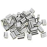 50 Piezas de Fundas Dobles de Aluminio, Bucle de Crimpado de Aluminio, Funda de Aluminio para Cable Metálico, para Sujetar Cuerdas, Cadenas para Perros (3 mm)