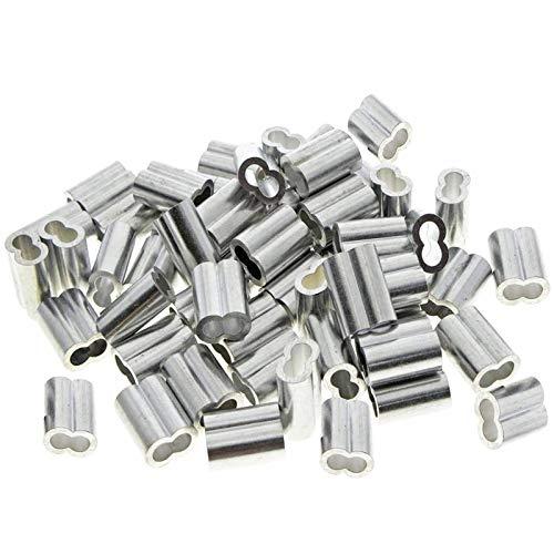 50 Pièces Manchons Doubles en Aluminium, 3mm Câble Acier Manchons, Clips de Manchon de Boucle de Sertissage en Aluminium avec Doubles Embouts, pour Câbles en Acier, Câble Métallique, Argenté (3mm)