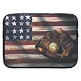 Waterproof Laptop Sleeve 13 Inch, American Flag Baseball Business Briefcase Protective Bag, Computer Case Cover for Ultrabook, MacBook Pro, MacBook Air, Asus, Samsung, Sony, Notebook