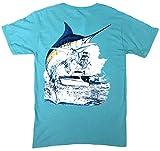 Guy Harvey Men's Marlin Boat T-Shirt, Scuba Blue No Pocket, Small