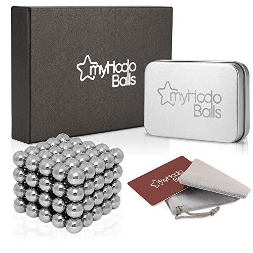 myHodo Magnetkugeln Anti Stress Premium Set, vielseitiges Büro Gadget, Stresskiller Entspannung Geschenkidee, Neodym Magnete extra stark 5mm, Kühlschrank Magnete für Magnettafel (100 Stück,silber)