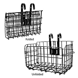 ZONSUSE Bike Basket, Front Handlebar Bicycle Basket,Rear Foldable Detachable Adult Cycling Baskets, Multipurpose Basket For Bicycles For Pets, Shopping, Commuters, Camping,Outdoor (Black)