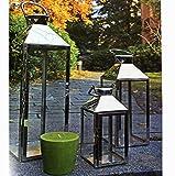Mojawo Set di 3 lanterne da giardino XXL, in acciaio inox, altezza 24/40/53 cm