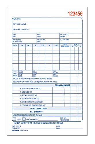 Adams Employee Payroll Record Book, 2 Part, Carbonless, 4.19 x 7.19, 50 Sets per Book, White and Canary (D4740)