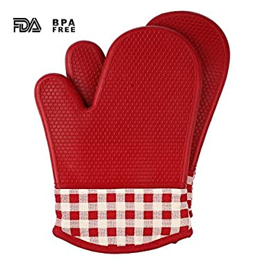 Jonhen Microwave Oven Mitts - Potholders and Oven Mitts,Quilted Cotton Lining Silicone Potholder Gloves - Heat Resistant Oven Mitts for Baking,Cooking,Barbeque(BBQ) (red)