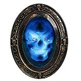TRIXES Espejo Ovalado Negro y Dorado Parlante Embrujado Halloween con Imagen Espeluznante