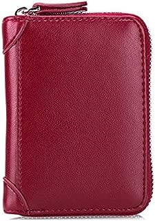 GD Large Capacity RFID Genuine Leather Men Women Casual Zipper Creddit Card Holder.Color Black/Color Blue/Color Pink/Color Red/Color Coffee/